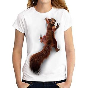 cheap Women's Tops-Women's T shirt Graphic 3D Animal Print Round Neck Tops Basic Basic Top White