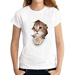 cheap Women's Tops-Women's T shirt Cat Graphic 3D Print Round Neck Tops 100% Cotton Basic Basic Top White Black