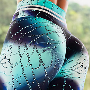 cheap Women's Workout Jumpsuit-Women's High Waist Yoga Pants Leggings Tummy Control Butt Lift Quick Dry Peacock Blue Black / Red Black Fitness Gym Workout Running Plus Size Sports Activewear Stretchy Slim