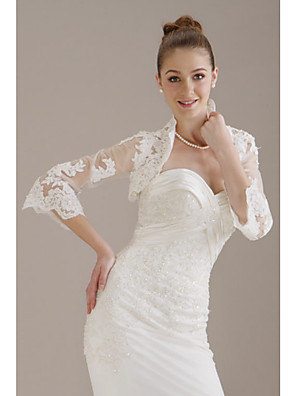 cheap Wedding Wraps-Half Sleeve Coats / Jackets Polyester Party / Evening Women's Wrap With Embroidery
