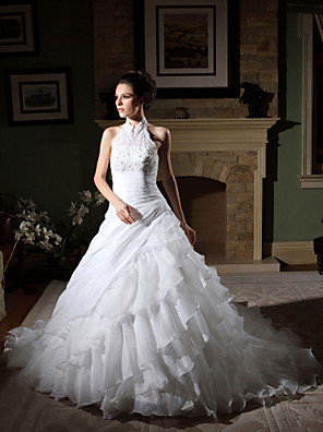 cheap Wedding Dresses-Ball Gown Wedding Dresses Halter Neck Chapel Train Organza Beaded Lace Regular Straps with Beading Appliques Side-Draped 2020
