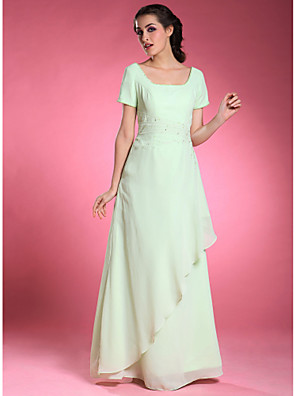 cheap Special Occasion Dresses-A-Line Formal Evening Wedding Party Dress Square Neck Short Sleeve Floor Length Chiffon with Beading Side Draping 2020