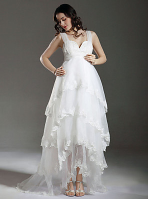 cheap Bridesmaid Dresses-A-Line Wedding Dresses Straps Sweetheart Neckline Sweep / Brush Train Asymmetrical Organza Sleeveless with 2020