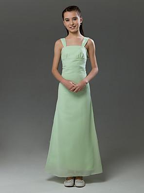 cheap Bridesmaid Dresses-Princess / A-Line Straps Floor Length Chiffon / Satin Junior Bridesmaid Dress with Ruffles / Spring / Summer / Fall / Winter / Apple
