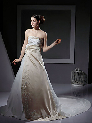 cheap Mother of the Bride Dresses-Princess A-Line Wedding Dresses Strapless Chapel Train Satin Sleeveless Wedding Dress in Color with 2020