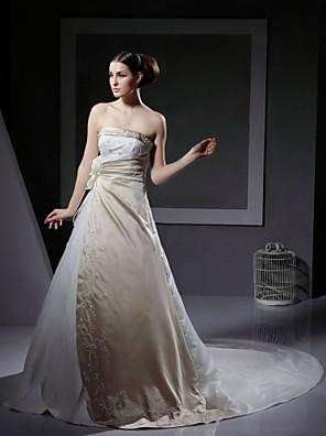 cheap Wedding Dresses-Princess A-Line Wedding Dresses Strapless Chapel Train Satin Sleeveless Wedding Dress in Color with 2020