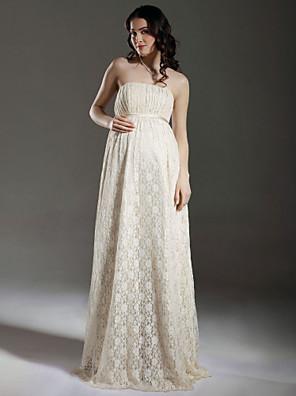 cheap Bridesmaid Dresses-Sheath / Column Wedding Dresses Strapless Floor Length Lace Sleeveless See-Through with Sash / Ribbon Draping 2020