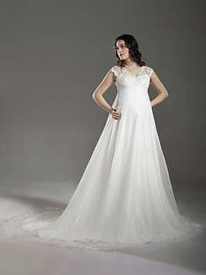cheap Wedding Dresses-A-Line Wedding Dresses V Neck Court Train Lace Organza Regular Straps See-Through with Lace Beading 2020