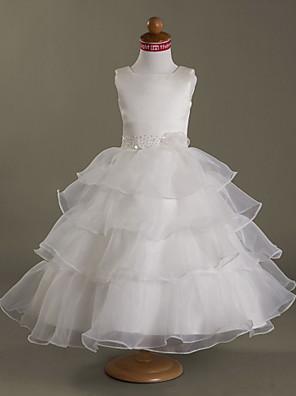 cheap Flower Girl Dresses-Princess / Ball Gown / A-Line Tea Length Wedding / First Communion Flower Girl Dresses - Organza / Satin Sleeveless Square Neck with Beading / Flower / Spring / Summer / Fall / Winter