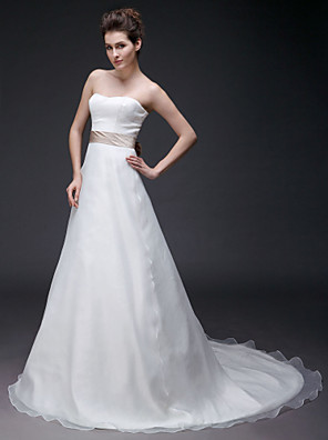 cheap Bridesmaid Dresses-Princess A-Line Wedding Dresses Strapless Sweetheart Neckline Court Train Organza Satin Sleeveless with 2020