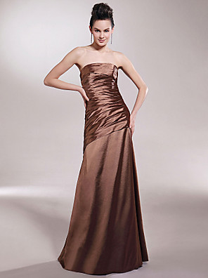 cheap Bridesmaid Dresses-Princess / A-Line Strapless Floor Length Stretch Satin Bridesmaid Dress with Side Draping