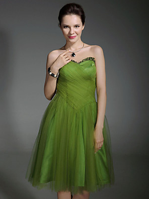 cheap Special Occasion Dresses-Back To School Ball Gown Celebrity Style Inspired by Sex and the City Homecoming Cocktail Party Sweet 16 Dress Strapless Sweetheart Neckline Sleeveless Knee Length Taffeta Tulle with Criss Cross Pleat
