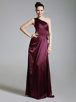 cheap Bridesmaid Dresses-Sheath / Column One Shoulder Floor Length Charmeuse Bridesmaid Dress with Ruched / Beading