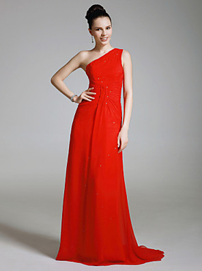 cheap Cocktail Dresses-Sheath / Column Elegant All Celebrity Styles Inspired by Emmy Formal Evening Military Ball Dress One Shoulder Sleeveless Sweep / Brush Train Chiffon with Beading Side Draping 2020
