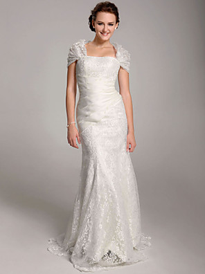 cheap Wedding Dresses-Mermaid / Trumpet Wedding Dresses Straps Floor Length Lace Short Sleeve See-Through with 2020