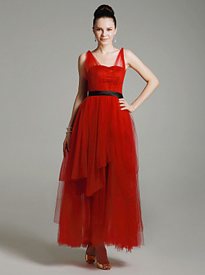 cheap Cocktail Dresses-Ball Gown Celebrity Style 1920s Inspired by Emmy Prom Formal Evening Military Ball Dress Straps Sleeveless Ankle Length Tulle with Sash / Ribbon 2020