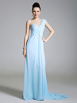 cheap Cocktail Dresses-Sheath / Column All Celebrity Styles Inspired by Emmy Open Back Formal Evening Military Ball Dress One Shoulder Sleeveless Sweep / Brush Train Chiffon with Side Draping 2020