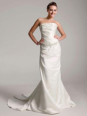 cheap Bridesmaid Dresses-Sheath / Column Wedding Dresses Strapless Court Train Satin Sleeveless with 2020