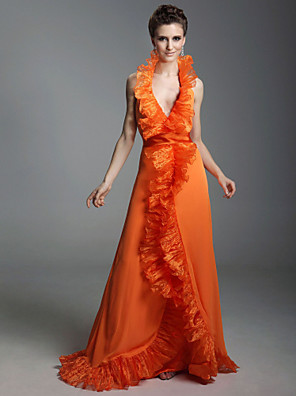 cheap Cocktail Dresses-Ball Gown All Celebrity Styles Inspired by Golden Globe Open Back Prom Formal Evening Military Ball Dress Halter Neck V Neck Sleeveless Floor Length Chiffon Organza with Ruffles Split Front 2020