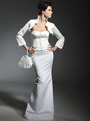 cheap Bridesmaid Dresses-Mermaid / Trumpet Wedding Dresses Strapless Sweetheart Neckline Floor Length Satin Long Sleeve with 2020 / Poet Sleeve / Yes