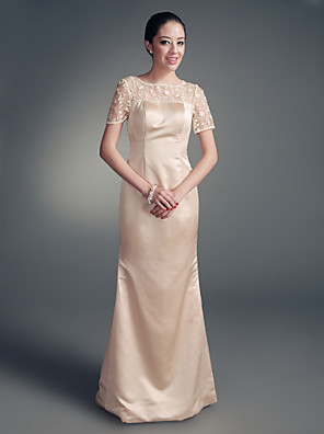 cheap Bridesmaid Dresses-Sheath / Column Mother of the Bride Dress Wrap Included Jewel Neck Floor Length Satin Long Sleeve with Lace Beading 2020