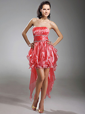 cheap Special Occasion Dresses-Ball Gown High Low Holiday Cocktail Party Prom Dress Strapless Sleeveless Asymmetrical Short / Mini Organza with Ruched Beading Draping 2020