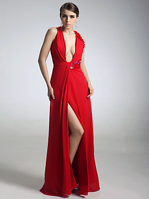 cheap Cocktail Dresses-Sheath / Column All Celebrity Styles Inspired by Emmy Formal Evening Military Ball Dress V Neck Sleeveless Floor Length Chiffon with Sequin Side Draping Split Front 2020