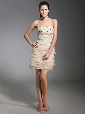 cheap Cocktail Dresses-Sheath / Column Holiday Homecoming Cocktail Party Dress Strapless Sleeveless Short / Mini Lace Organza with Lace Beading 2020