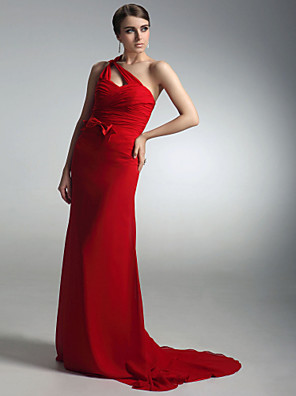 cheap Cocktail Dresses-Sheath / Column All Celebrity Styles Inspired by Golden Globe Open Back Formal Evening Dress One Shoulder Sleeveless Sweep / Brush Train Chiffon with Bow(s) Criss Cross Side Draping 2020