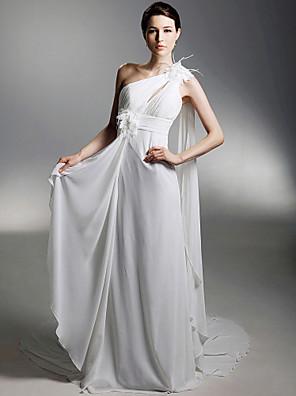 cheap Prom Dresses-Sheath / Column Wedding Dresses One Shoulder Watteau Train Chiffon Sleeveless with 2020