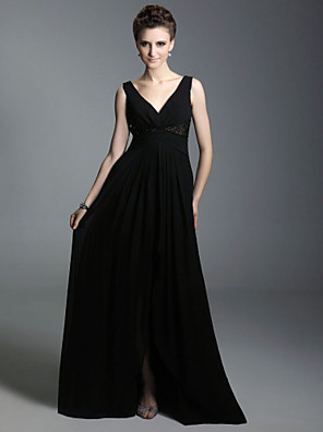 cheap Special Occasion Dresses-Ball Gown Celebrity Style Inspired by Sex and the City Formal Evening Military Ball Dress Straps V Neck Sleeveless Floor Length Chiffon with Criss Cross Beading 2020