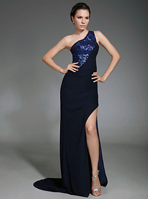 cheap Special Occasion Dresses-Sheath / Column Celebrity Style All Celebrity Styles Inspired by Cannes Film Festival Formal Evening Military Ball Dress One Shoulder Sleeveless Sweep / Brush Train Chiffon with Beading Split Front