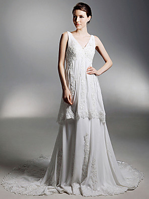 cheap Bridesmaid Dresses-Princess A-Line Wedding Dresses V Neck Chapel Train Chiffon Sleeveless with 2020