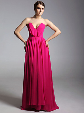 cheap Special Occasion Dresses-Sheath / Column Celebrity Style All Celebrity Styles Inspired by Emmy Prom Formal Evening Military Ball Dress Strapless V Neck Sleeveless Floor Length Chiffon with Pleats 2020 / Open Back
