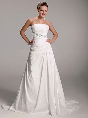 cheap Bridesmaid Dresses-Princess A-Line Wedding Dresses Strapless Court Train Taffeta Sleeveless with 2020