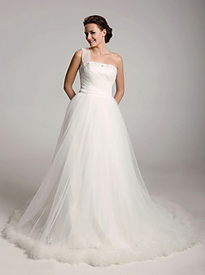 cheap Bridesmaid Dresses-Princess Ball Gown A-Line Wedding Dresses One Shoulder Court Train Satin Tulle Sleeveless with 2020