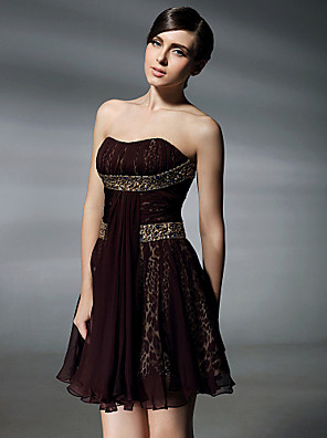cheap Cocktail Dresses-Ball Gown Homecoming Cocktail Party Sweet 16 Dress Strapless Sweetheart Neckline Sleeveless Short / Mini Chiffon with Beading Draping 2020
