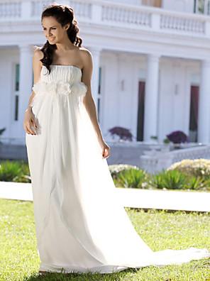cheap Wedding Dresses-Sheath / Column Wedding Dresses Strapless Court Train Chiffon Sleeveless with 2020