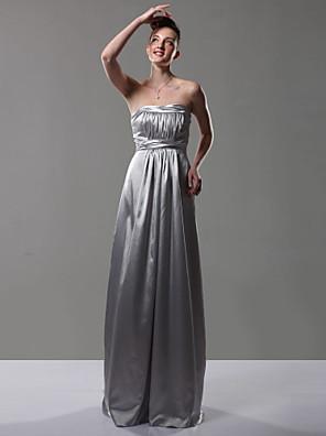 cheap Bridesmaid Dresses-Sheath / Column Strapless Floor Length Charmeuse Bridesmaid Dress with Draping