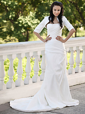 cheap Mother of the Bride Dresses-Mermaid / Trumpet Wedding Dresses Strapless Court Train Taffeta Short Sleeve with 2020 / Yes