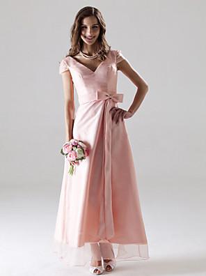 cheap Bridesmaid Dresses-A-Line V Neck Ankle Length Organza Bridesmaid Dress with Sash / Ribbon / Bow(s)