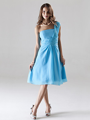 cheap Bridesmaid Dresses-A-Line One Shoulder Knee Length Chiffon Bridesmaid Dress with Ruched