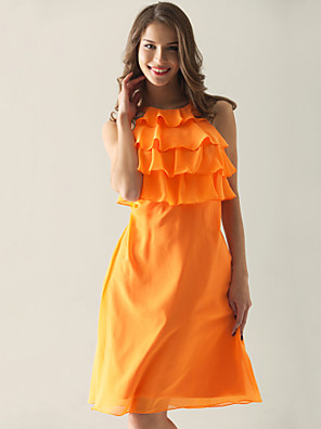 cheap Bridesmaid Dresses-Sheath / Column Straps / Jewel Neck Knee Length Chiffon Bridesmaid Dress with