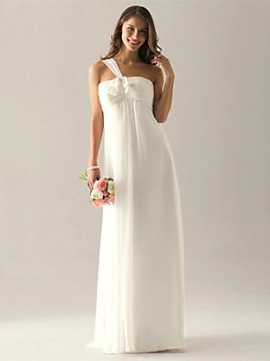 cheap Bridesmaid Dresses-Sheath / Column One Shoulder Floor Length Chiffon Bridesmaid Dress with Bow(s) / Ruched / Pleats