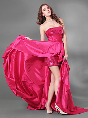 cheap Special Occasion Dresses-A-Line Sparkle & Shine High Low Beaded & Sequin Cocktail Party Formal Evening Dress Strapless Sleeveless Court Train Taffeta Sequined with Split Front 2020