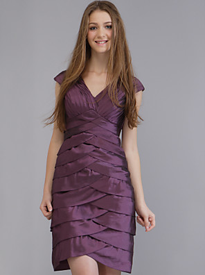 cheap Special Occasion Dresses-Sheath / Column Wedding Party Dress V Neck Sleeveless Short / Mini Taffeta with 2020