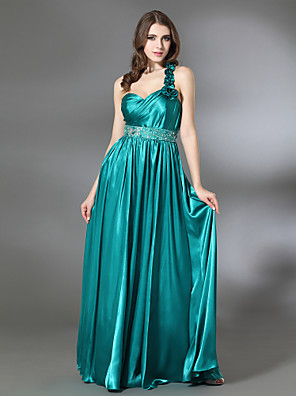 cheap Cocktail Dresses-Sheath / Column Prom Formal Evening Military Ball Dress One Shoulder Sweetheart Neckline Sleeveless Floor Length Charmeuse with Pleats Beading Ruffles 2020