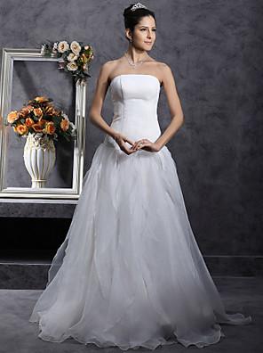 cheap Bridesmaid Dresses-Princess A-Line Wedding Dresses Strapless Organza Satin Sleeveless with 2020