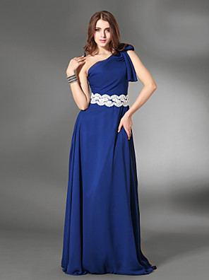 cheap Special Occasion Dresses-Sheath / Column Elegant Formal Evening Military Ball Dress One Shoulder Sleeveless Floor Length Chiffon Satin with Sash / Ribbon Appliques Side Draping 2020