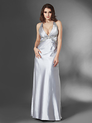 cheap Special Occasion Dresses-Sheath / Column Open Back Formal Evening Military Ball Dress V Neck Sleeveless Floor Length Stretch Satin with Sequin Side Draping Crystal Brooch 2020